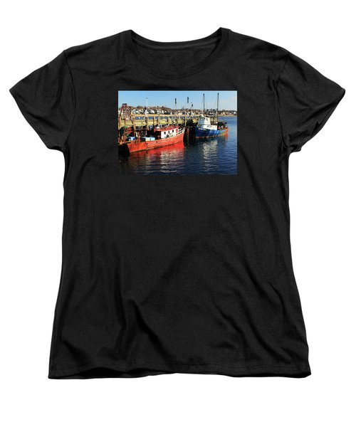 Women's T-Shirt (Standard Cut) featuring the photograph Fishing Boats At Provincetown Wharf by Roupen  Baker