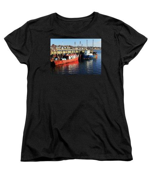 Fishing Boats At Provincetown Wharf Women's T-Shirt (Standard Cut) by Roupen  Baker