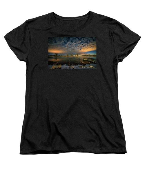 Fishing Hole At Night Women's T-Shirt (Standard Cut) by Fiskr Larsen