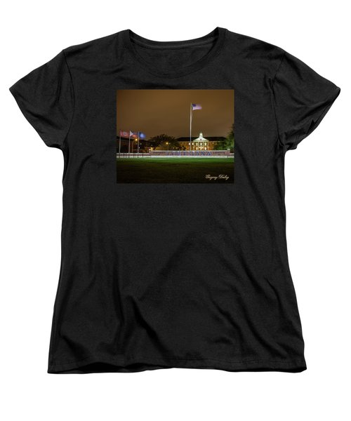 Women's T-Shirt (Standard Cut) featuring the photograph Flag At Night In Wind by Gregory Daley  PPSA