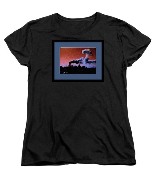 Women's T-Shirt (Standard Cut) featuring the digital art Flight 175 Mushroom Cloud Framed Example by James Kosior