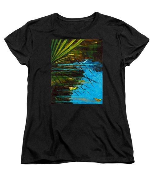 Women's T-Shirt (Standard Cut) featuring the painting Floating Gold On Reflected Blue by Suzanne McKee