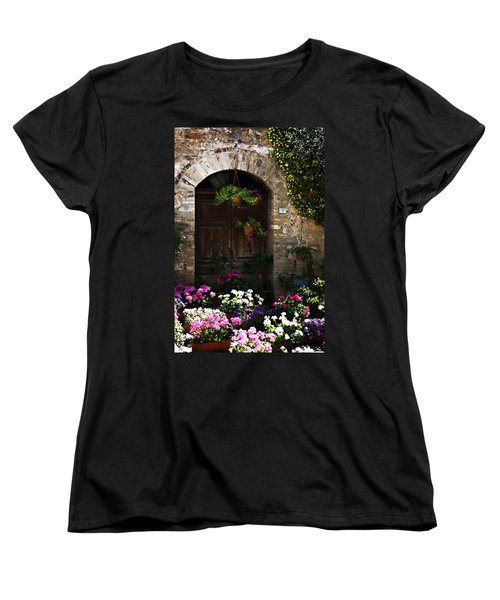 Floral Adorned Doorway Women's T-Shirt (Standard Cut) by Marilyn Hunt