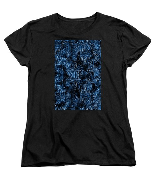 Women's T-Shirt (Standard Cut) featuring the painting Floral Blue Abstract by David Dehner