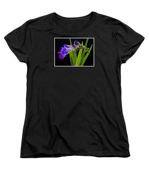 Flowers Backlite. Women's T-Shirt (Standard Cut) by Josephine Buschman