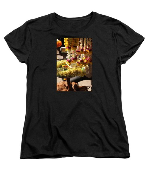 Flowers In The Market, Near Sajjangad 2 Women's T-Shirt (Standard Cut) by Jennifer Mazzucco