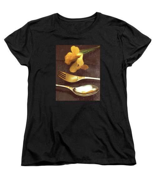 Flowers On Slate Variation 3 Women's T-Shirt (Standard Cut) by Jon Delorme