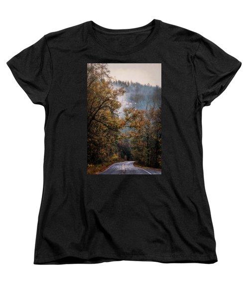 Women's T-Shirt (Standard Cut) featuring the photograph Foggy Autumn Road  by Saija Lehtonen