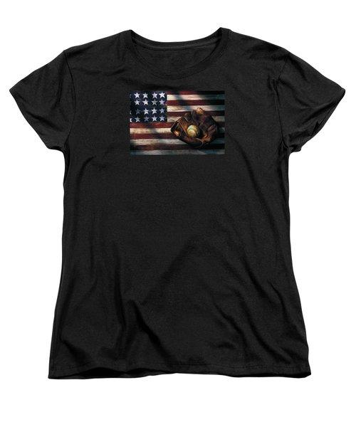 Folk Art American Flag And Baseball Mitt Women's T-Shirt (Standard Cut) by Garry Gay