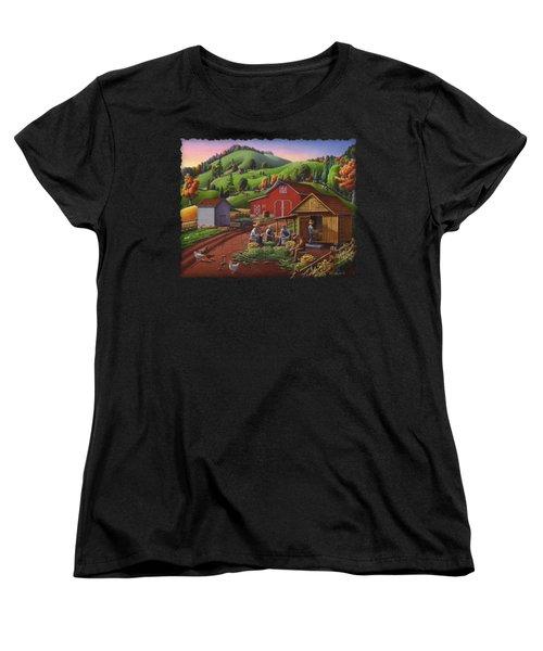 Folk Art Americana - Farmers Shucking Harvesting Corn Farm Landscape - Autumn Rural Country Harvest  Women's T-Shirt (Standard Cut) by Walt Curlee