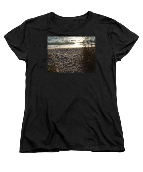 Women's T-Shirt (Standard Cut) featuring the photograph Footprints In The Dunes by Robert Margetts