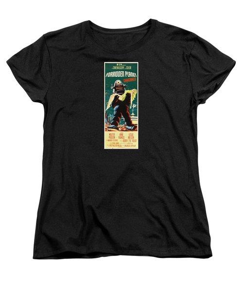 Forbidden Planet In Cinemascope Retro Classic Movie Poster Portraite Women's T-Shirt (Standard Cut) by R Muirhead Art