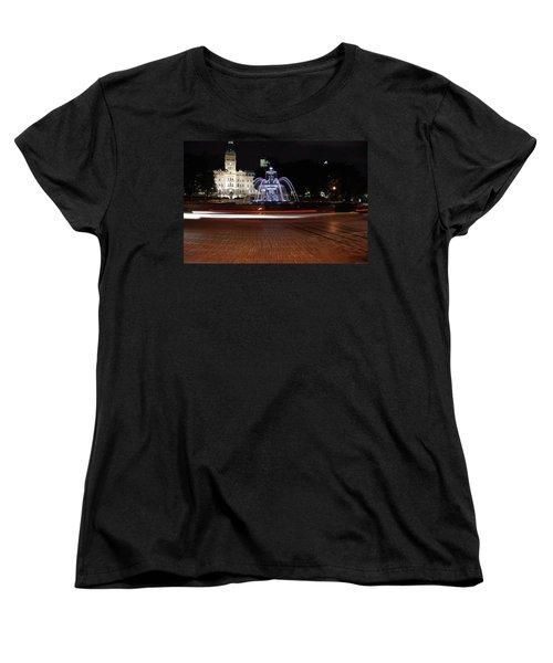 Fountaine De Tourny And Quebec Parliament Women's T-Shirt (Standard Cut) by John Schneider
