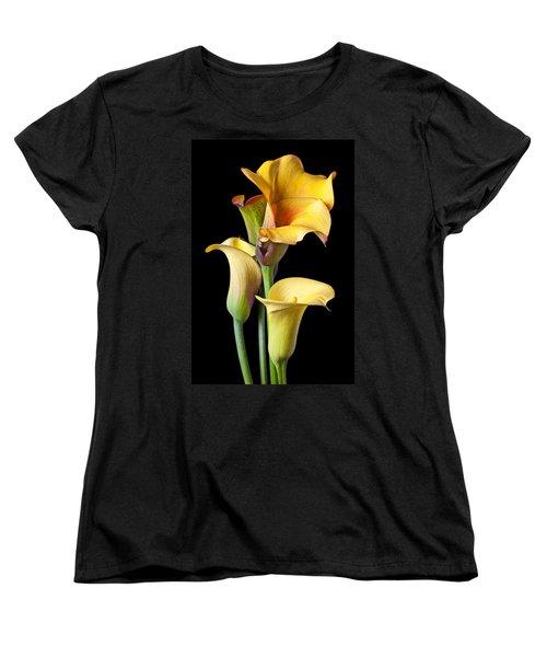 Four Calla Lilies Women's T-Shirt (Standard Cut) by Garry Gay