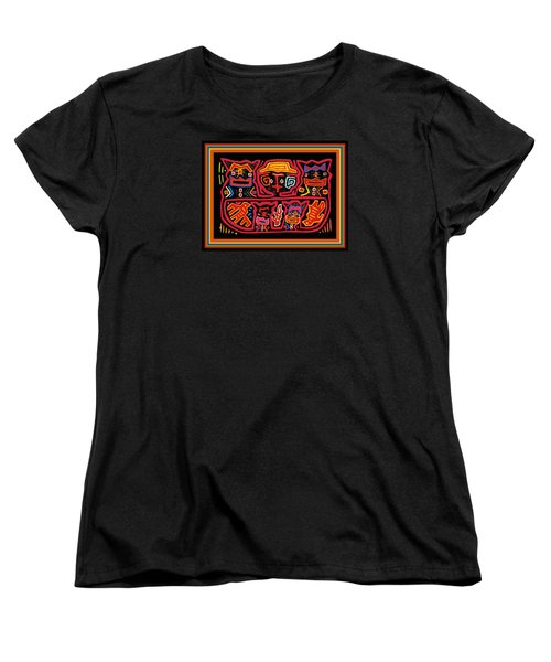Four Cats Three Birds Women's T-Shirt (Standard Cut) by Vagabond Folk Art - Virginia Vivier