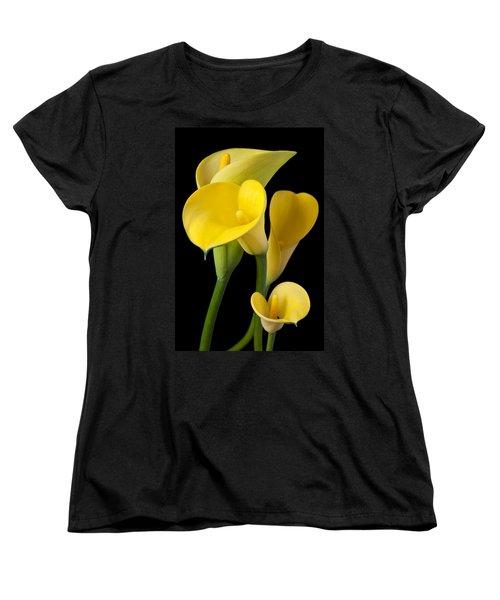 Four Yellow Calla Lilies Women's T-Shirt (Standard Cut) by Garry Gay