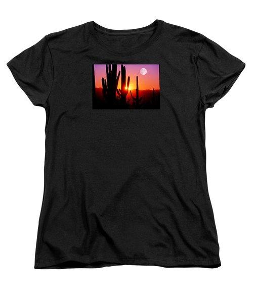Fourth Sunset At Saguaro Women's T-Shirt (Standard Cut) by John Hoffman