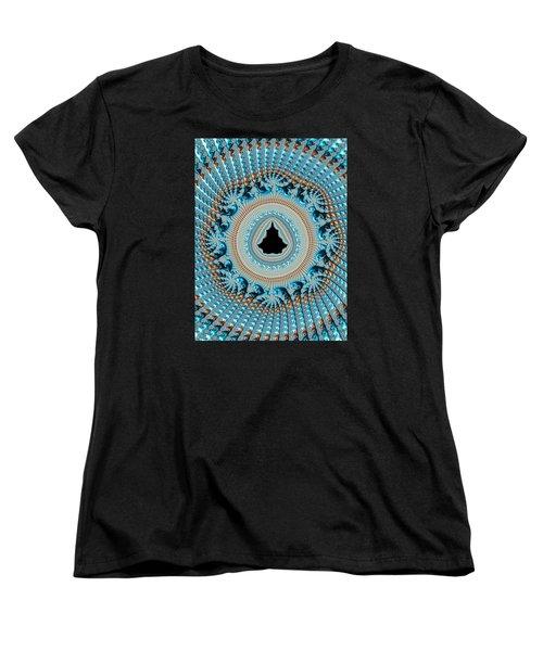 Fractal Art Crochet Style Blue And Gold Women's T-Shirt (Standard Cut)