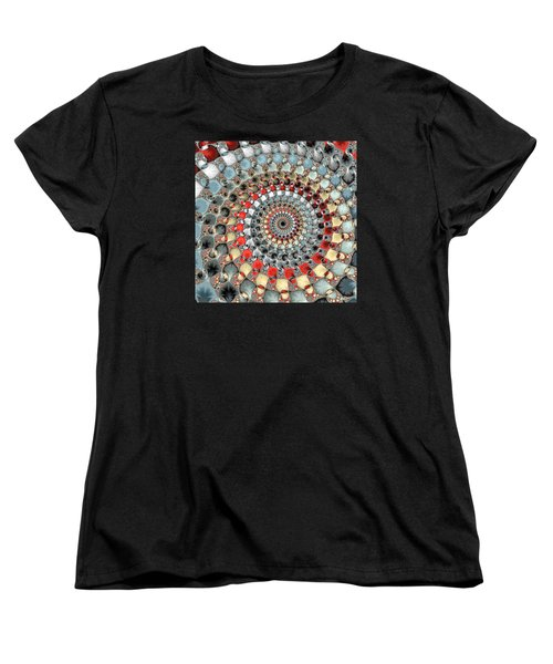 Fractal Spiral Red Grey Light Blue Square Format Women's T-Shirt (Standard Cut) by Matthias Hauser
