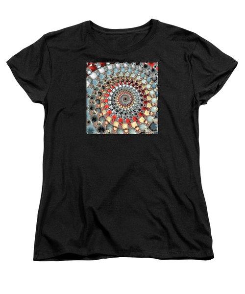 Fractal Spiral Red Grey Light Blue Square Format Women's T-Shirt (Standard Cut)