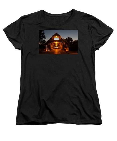 Frankenmuth Covered Bridge Women's T-Shirt (Standard Cut) by Pat Cook