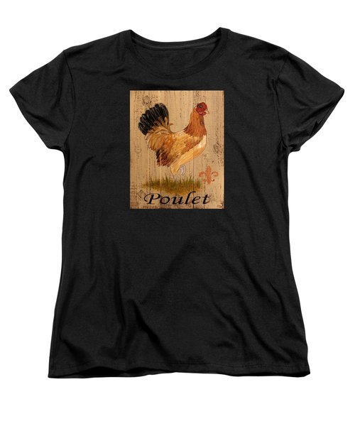 Women's T-Shirt (Standard Cut) featuring the painting French Country Shabby Cottage Poulet Hen by Cindy Micklos