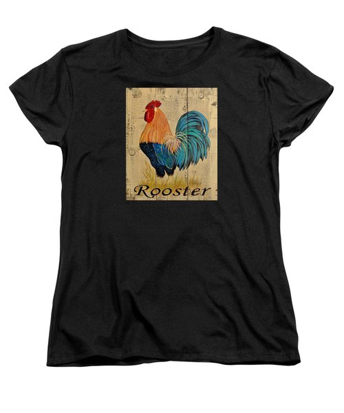 Women's T-Shirt (Standard Cut) featuring the painting French Country Shabby Cottage Rooster by Cindy Micklos
