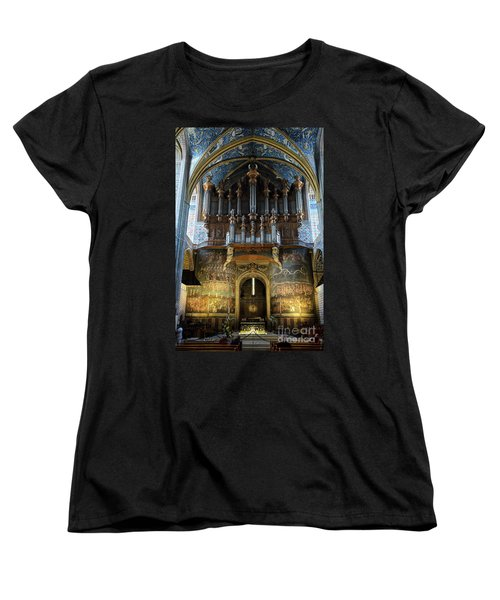 Fresco Of The Last Judgement And Organ In Albi Cathedral Women's T-Shirt (Standard Cut) by RicardMN Photography