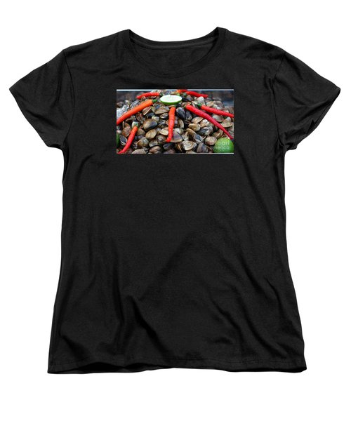 Women's T-Shirt (Standard Cut) featuring the photograph Fresh Clams With Chilies And Limes by Yali Shi