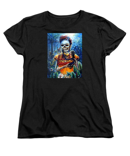 Women's T-Shirt (Standard Cut) featuring the painting Frida In The Moonlight Garden by Heather Calderon