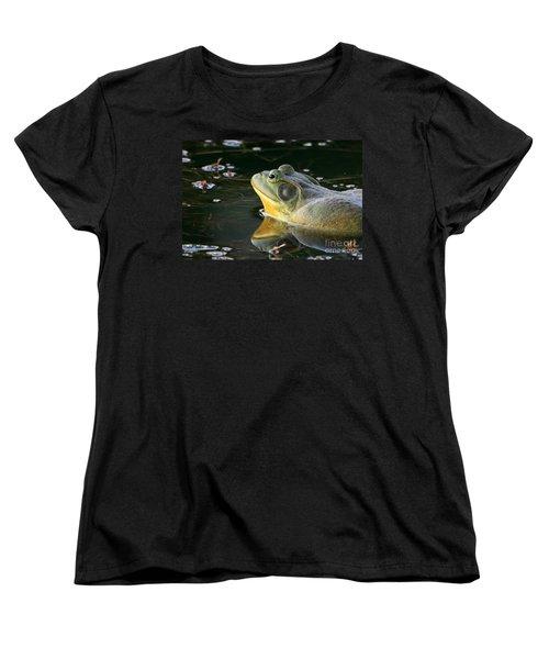 Women's T-Shirt (Standard Cut) featuring the photograph Frog At Sunset by Paula Guttilla