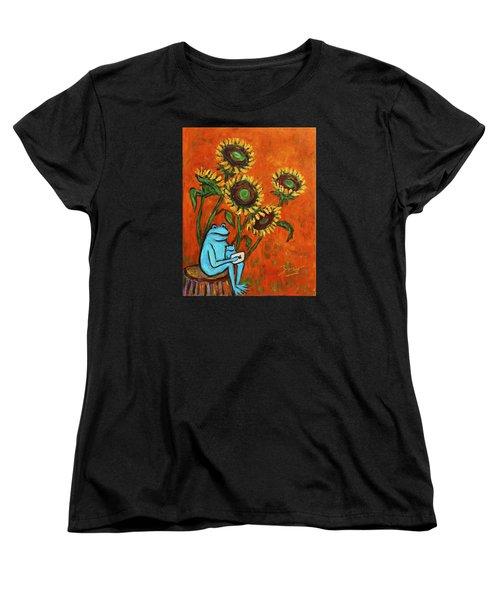 Frog I Padding Amongst Sunflowers Women's T-Shirt (Standard Cut) by Xueling Zou