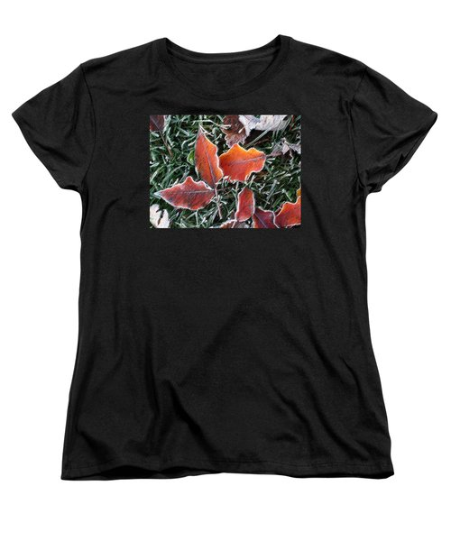 Women's T-Shirt (Standard Cut) featuring the photograph Frosted Leaves by Shari Jardina