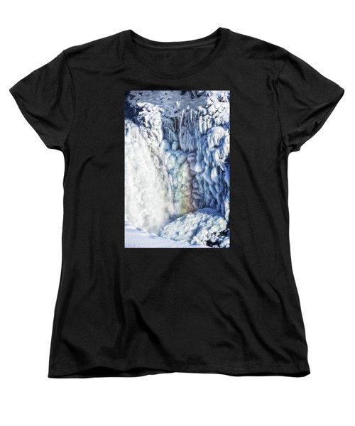 Frozen Waterfall Gullfoss Iceland Women's T-Shirt (Standard Cut) by Matthias Hauser