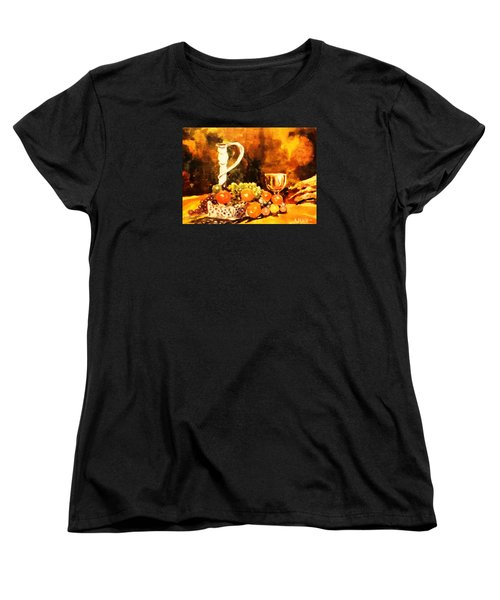 Women's T-Shirt (Standard Cut) featuring the painting Fruit, Candelabrum And Goblet by Al Brown