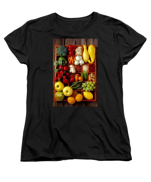 Fruits And Vegetables In Compartments Women's T-Shirt (Standard Cut) by Garry Gay