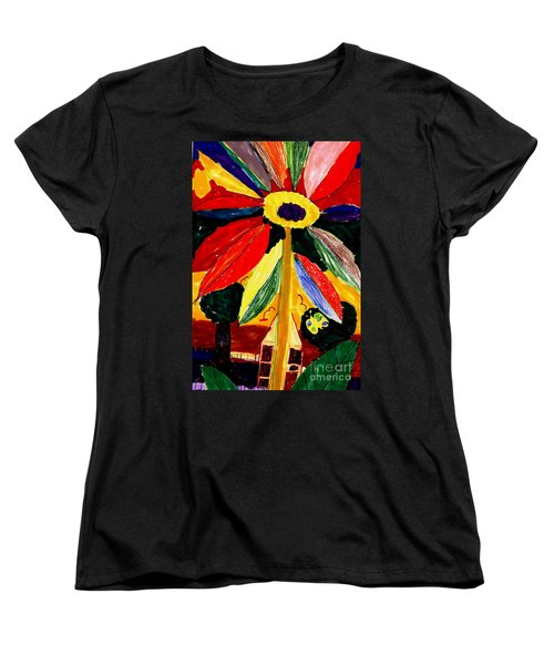 Women's T-Shirt (Standard Cut) featuring the painting Full Bloom - My Home 2 by Angela L Walker