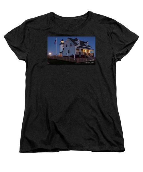 Women's T-Shirt (Standard Cut) featuring the photograph Full Moon Rise At Pemaquid Light, Bristol, Maine -150858 by John Bald