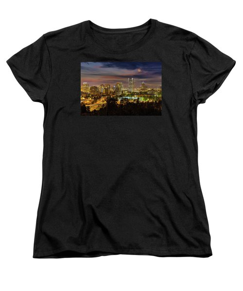 Full Moon Rising Over Downtown Portland Women's T-Shirt (Standard Fit)