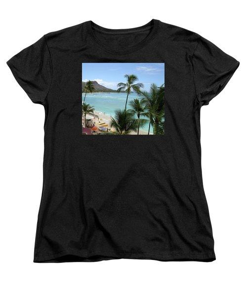 Fun Times On The Beach In Waikiki Women's T-Shirt (Standard Cut) by Karen Nicholson