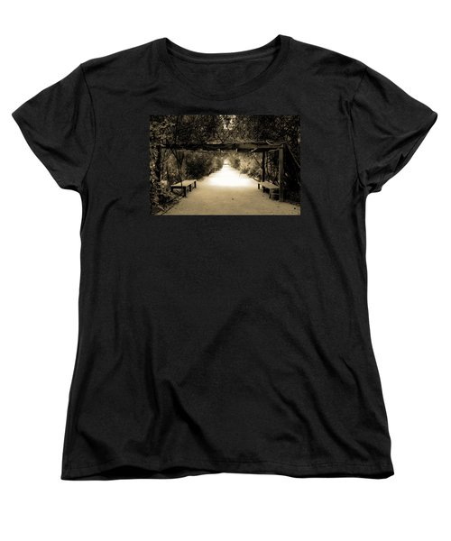 Garden Arbor In Sepia Women's T-Shirt (Standard Cut) by DigiArt Diaries by Vicky B Fuller