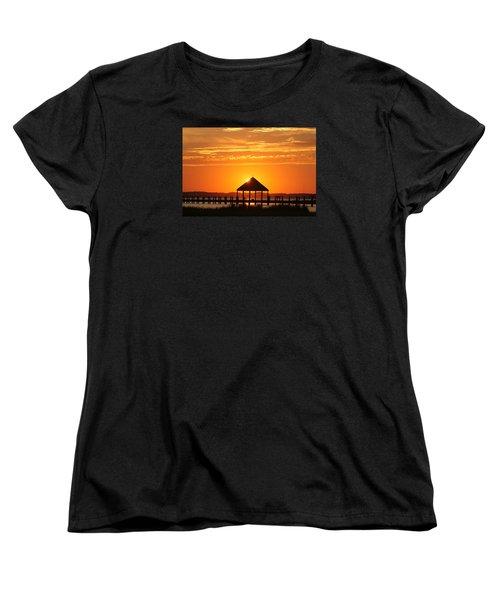 Women's T-Shirt (Standard Cut) featuring the photograph Gazebo Sunset by Robert Banach