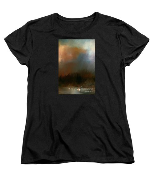Women's T-Shirt (Standard Cut) featuring the photograph Geese On A Nh Lake by Mim White