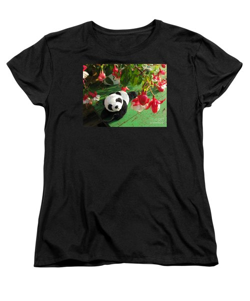 Women's T-Shirt (Standard Cut) featuring the photograph Ginny Under The Red And White Fuchsia by Ausra Huntington nee Paulauskaite