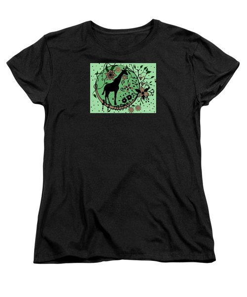 Women's T-Shirt (Standard Cut) featuring the drawing Giraffe Illustration by Saribelle Rodriguez