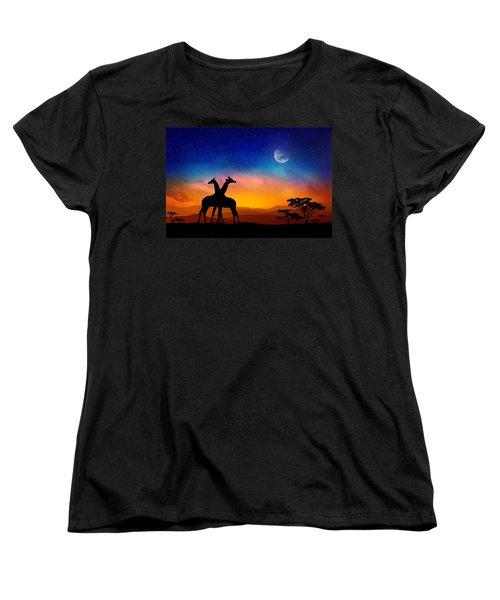 Giraffes Can Dance Women's T-Shirt (Standard Cut) by Iryna Goodall