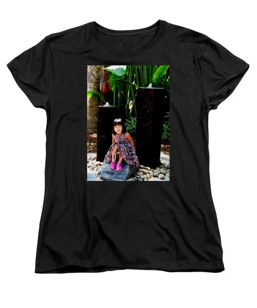 Girl On Rocks Women's T-Shirt (Standard Cut) by Angela Murray