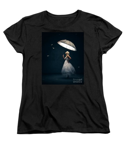 Girl With Umbrella And Falling Feathers Women's T-Shirt (Standard Cut) by Johan Swanepoel