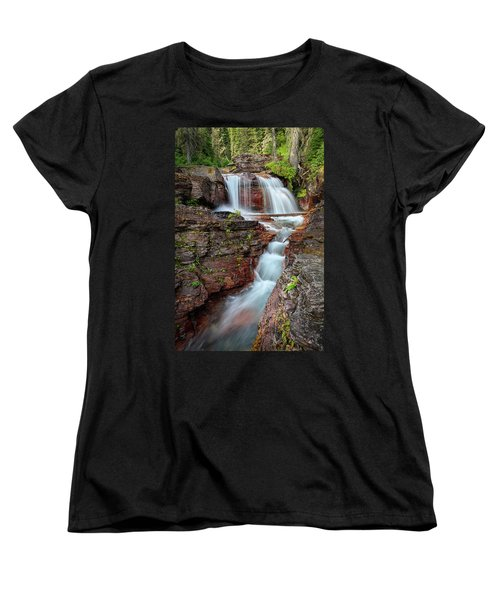 Glacier National Park Waterfall 2 Women's T-Shirt (Standard Cut) by Andres Leon