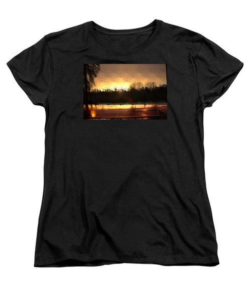 Women's T-Shirt (Standard Cut) featuring the mixed media Glassy Dawn by Terence Morrissey